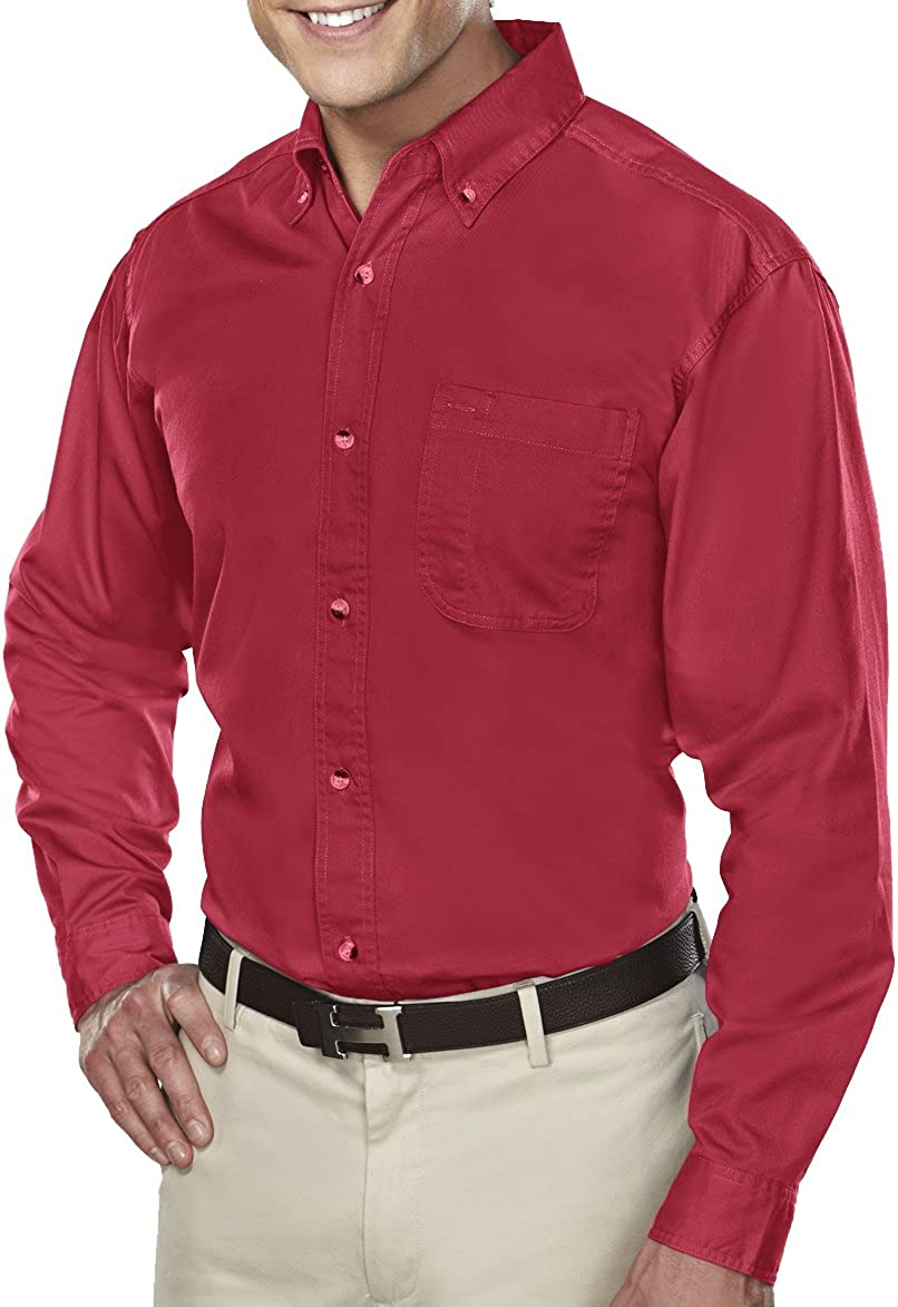 Men's Tall Size Down Collar Long Sleeve Dress Shirt - Red