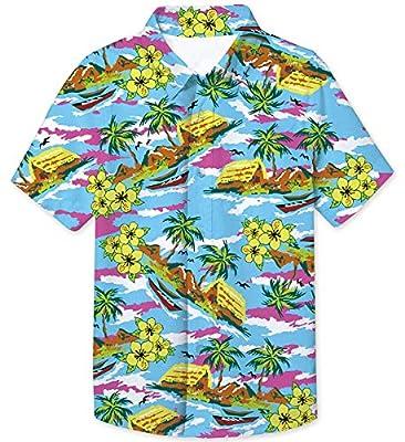 UNICOMIDEA Big Boy's 3D Printed Novelty Hawaiian Shirt Button Down Aloha Tees Summer Dress Casual Tops for 7-14 Years Old