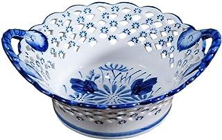Cuencos de Almacenamiento for el hogar Fruta Bowl Blue and White Porcelana Dried Fruit Snack Bandería Tray Tecla Caja de A...
