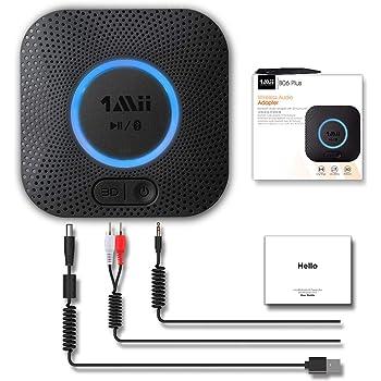 1Mii Bluetooth 5.0 オーディオ レシーバー 2台同時接続可能 Hi-Fi 3Dステレオ サウンド 高音質 低遅延 超長受信距離(屋外:50m 屋内:20〜30 m) 自動再接続 充電 不要 RCA、AUX、APT-X/AAC対応 TELEC認定 PSE認証に合致する電源アダプタ供給された 1年の品質保証 B06+
