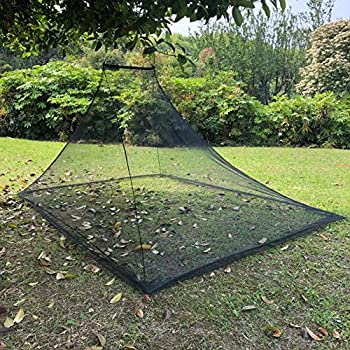 Moustiquaire pour lit de camping double - Wisolt Filet à insectes d'extérieur compact et léger avec 4 pinces et 1 pochette de transport pour le camping, la randonnée, la pêche et la jungle