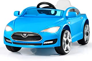 Costzon Kids Ride On Car, 6V Battery Powered Electric Vehicle with 2.4 GHZ Remote Control, Safety Belt, Led Headlights, Horn, Music, Volume Control (Blue)