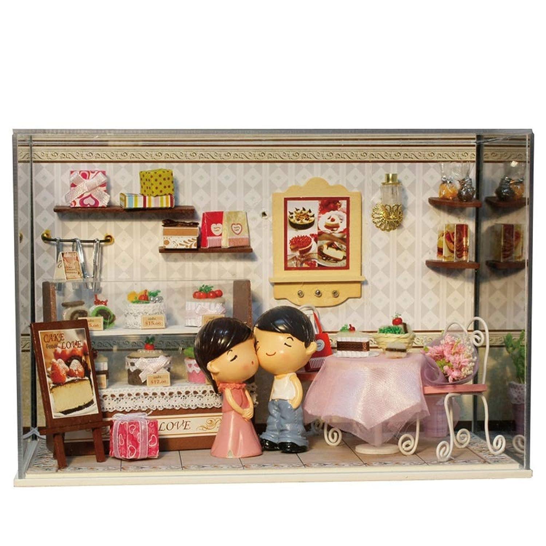 ドールハウスミニチュアDIYハウスキットLEDクリエイティブルーム家具クラフト付きミニドールハウスモデル玩具建設キット建築モデル玩具誕生日(ケーキの恋人) (Color : Multi-colored, Size : Free size)