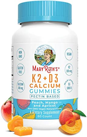 Vegan Vitamin K2D3 Calcium Gummies Supplement (Plant Based) by MaryRuth's   Delicious Tasting Gummy with Organic Ingredients, Non-GMO, Gluten Free for Men, Women & Kids (60 Count)
