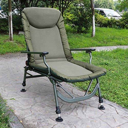 Zcxbhd Campingstoelen – Gevoerde Comfortabele Ontspanningsschommelstoel met voetensteun Design Lounge stoel ligstoel met zijdelingse opbergtas (legergroen)