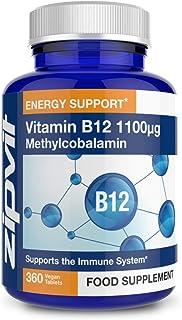Vitamina B12 Metilcobalamina 1100mcg. 360 Tabletas Veganas (Suministro para 12 Meses) Ayuda a reducir el cansancio y la fatiga y contribuye a un sistema inmunológico saludable