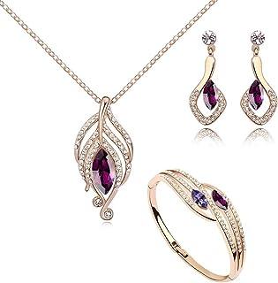 Ensemble collier dauphins et boucles doreille 18 carats plaqu/é or blanc avec cristaux mauve imitation am/éthyste de Swarovski