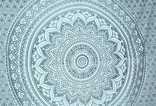 Nouveau Lancé en argent massif Ombre Tapestry Mandala Hippie Couvre-lit en bohème suspendu avec tapis métallique brillant 90x84 pouces exclusivement