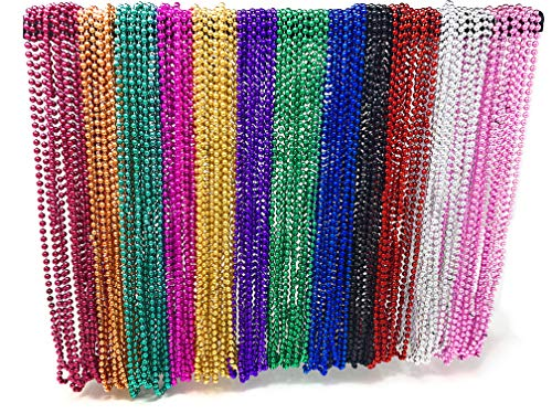 Buy 4E's Novelty Bulk 144 (12 Dozen) Mardi Gras Beads Necklaces 33 Inches Long 6mm Thick Round Metal...