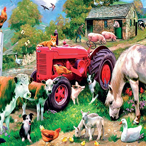 Red Tractor & Farmyard Animals Blank Greeting Card Lenticular 3D / Holographic - Any Occasion/Birthday