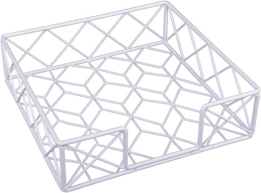 KOOK TIME Servilleteros de Mesa/Porta servilletas Modelo Net - Metal Lacado en Color Blanco - Medidas 19 x 19 x 5,5 cm - Apto para servilletas tamaño éstandar