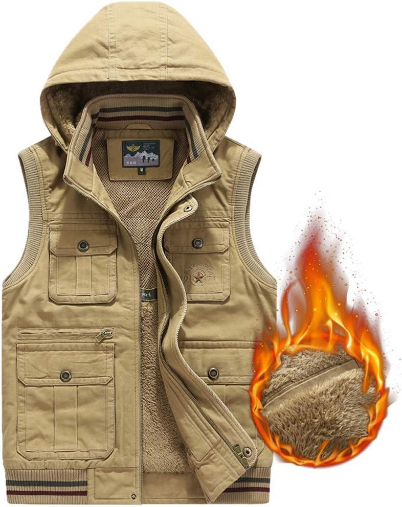 Vest Jacket Men's Cotton Men's Thick Fashion Winter Warm (Color : Khaki, Size : M)