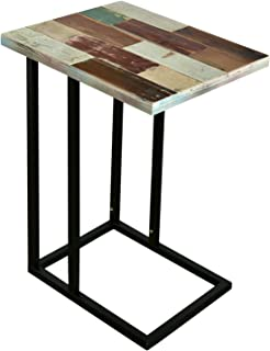 WELLAND Sofa Snack C-Table with Reclaimed Wood Top
