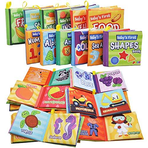 JOYIN 12 Packs My First Soft Bath Books, Nontoxic Fabric Soft Baby Cloth Books