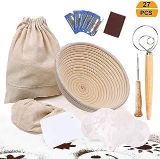 UHAPEER - Cesta fermentación redonda de 22 cm 27 PCS, incluye 5 raspadores masa cortador de masa, 16 PCS plantillas decoración de pan, varilla de agitador de harina, raspador, bolsa de pan de lino