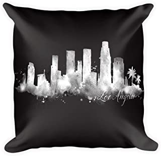 Highrise Gypsy Los Angeles, California Watercolor City Skyline Black Pillow (Cover & Inserts w/Zipper) Citiscape All Over Silky Printed on Both Sides 18'X18 (Black Pillow)