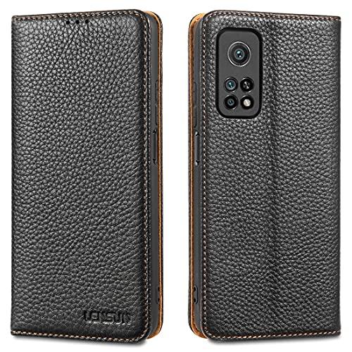 LENSUN Echtleder Hülle für Xiaomi Mi 10T, Xiaomi Mi 10T Pro Leder Handyhülle mit Magnetverschluss Lederhülle Handytasche für Xiaomi Mi 10T/10T Pro 5G - Schwarz(M10T-DC-BK)