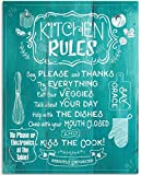 Kitchen Rules - Farmhouse Style Wall Art - 11x14 Unframed Art Print - Great Kitchen and Dining Room Decor and Housewarming Gift Under $15 (Printed on Paper, Not Wood)