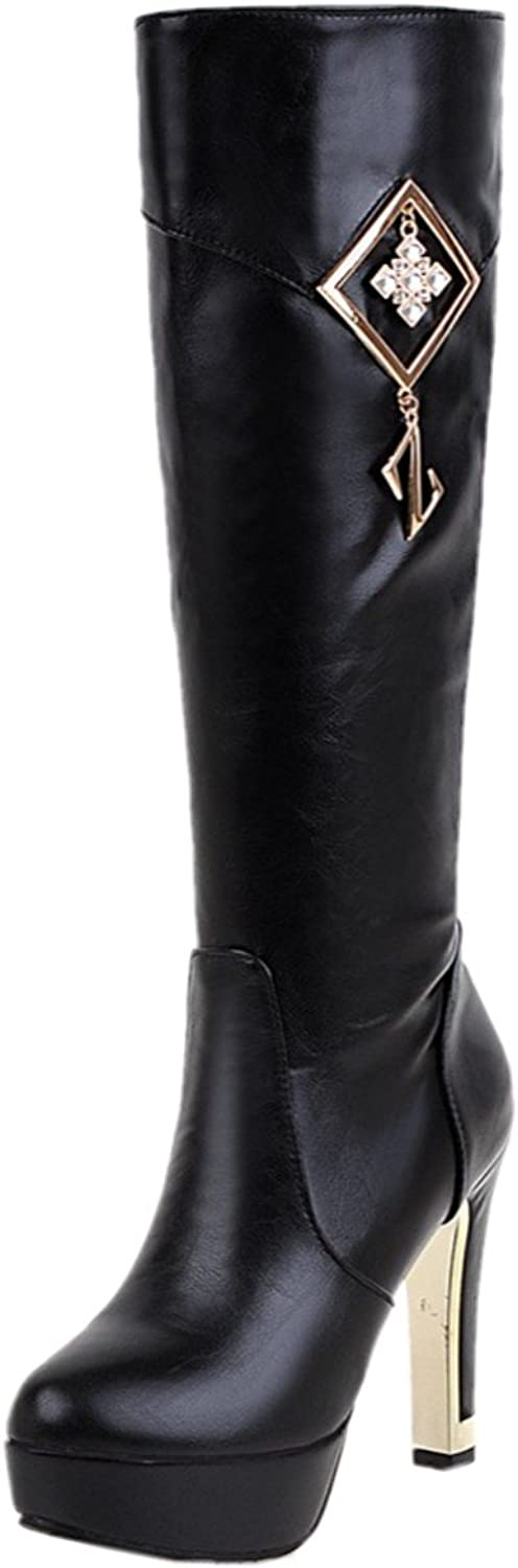 Rongzhi Womens Mid Calf Boots Thick High Heels Platform Pumps Side Zipper Slim Boot Dress Party Round Toe White