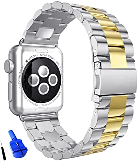 HUANLONG Compatible with Apple Watch Band, Solid Stainless Steel Metal Replacement Watchband Bracelet with Compatible with iWatch Series 1/2/3/4(Silver/Gold 42mm)