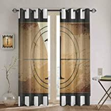 Homrkey Movie Theater Window Curtain Grunge Countdown Frame with The Number 1 in a Circle Film Strip Soundproof Shade W52 x L108 Inch Pale Brown Black White