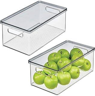 mDesign boîtes de rangement pour réfrigérateur – boites pour aliments avec couvercle – rangement pour frigo, pour la cuisi...