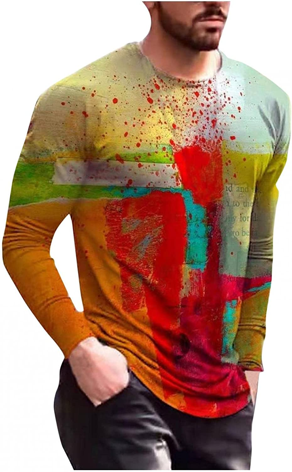 Aayomet Mens Shirts Pullover Colorful Pattern Tops Casual Comfy Slim Fit Long Sleeve Fashion Sweatshirts