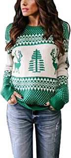 Exlura Patterns Reindeer Ugly Christmas Sweater Pullover Cardigan