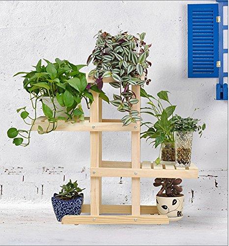 QFF Porte-fleurs en bois massif radier vert sol en plusieurs étages étagère en bois bonsai étagère en bois balcon salon intérieur ( Couleur : Couleur du bois , taille : 72*26*66cm )