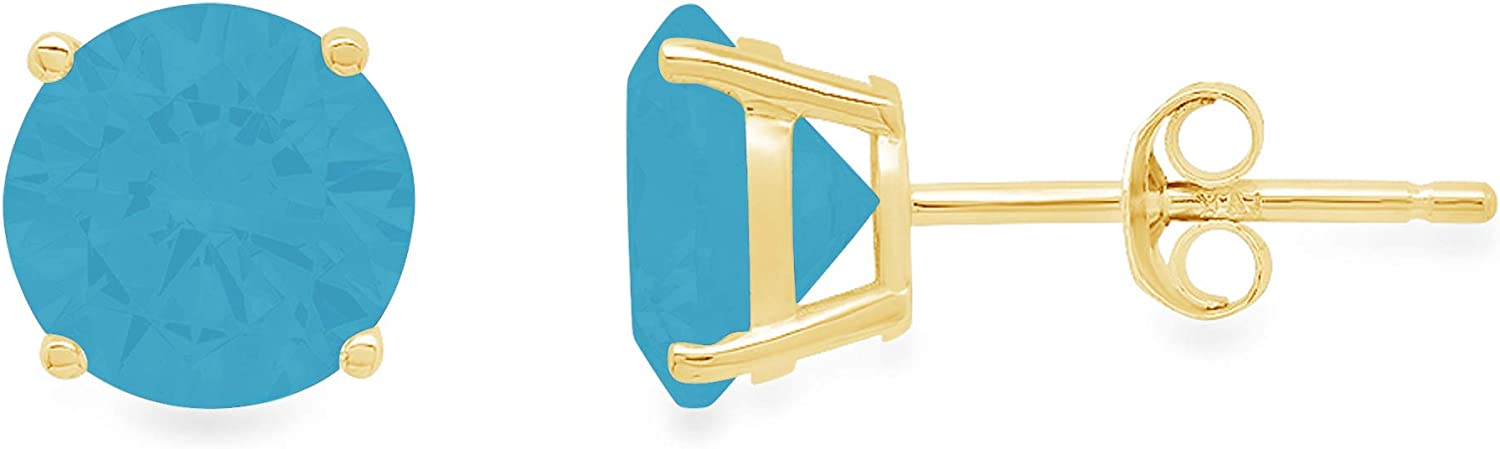 1.4ct Brilliant Round Cut Solitaire Flawless Genuine Simulated CZ Blue Turquoise Gemstone Unisex Pair of Stud Designer Earrings Solid 14k Yellow Gold Push Back conflict free Jewelry