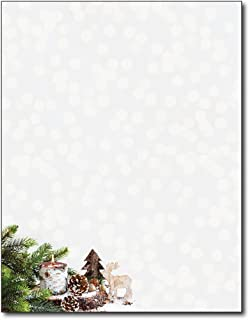 Alpine Woods Christmas Holiday Letterhead Paper - 80 Sheets