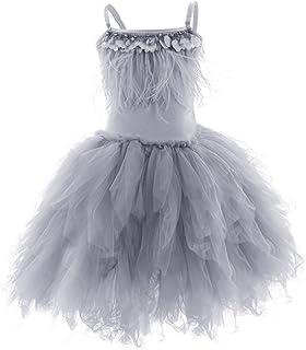 28174c8398fe OBEEII Little Girl Swan Princess Feather Fringes Tutu Dress Pageant Party  Wedding Dance Formal Birthday Short
