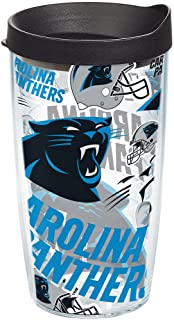 Tervis NFL Carolina Panthers All Over Tumbler with Wrap and Black Lid 16oz, Clear