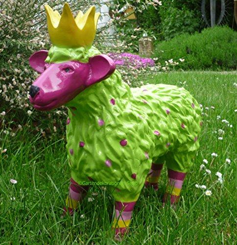 FD Gartenfigur lustiges buntes Schaf mit Krone Garten Deko Tier Lamm Königsschaf in Grün/Pink