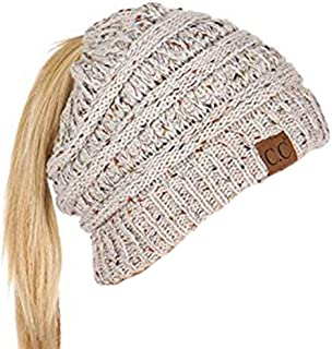 CC Quality Confetti Beanie Tail Soft Stretch Ribbet Cable Ponytail Winter Hat.