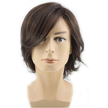 Amazon Com Beron Men S Medium Style Wavy Bouncy Side Swept Fringe Bang Hairstyle Wig With Wig Cap Dark Brown Beauty