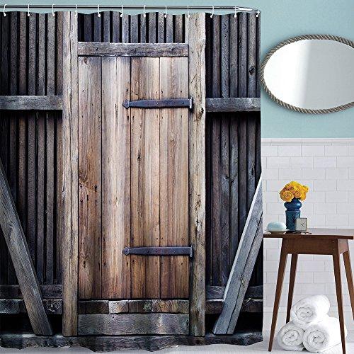 ToHa Duschvorhang anti Schimmel Langes Leben Zaun Holz Tür Moderner Stil Duschvorhang textil 180x200
