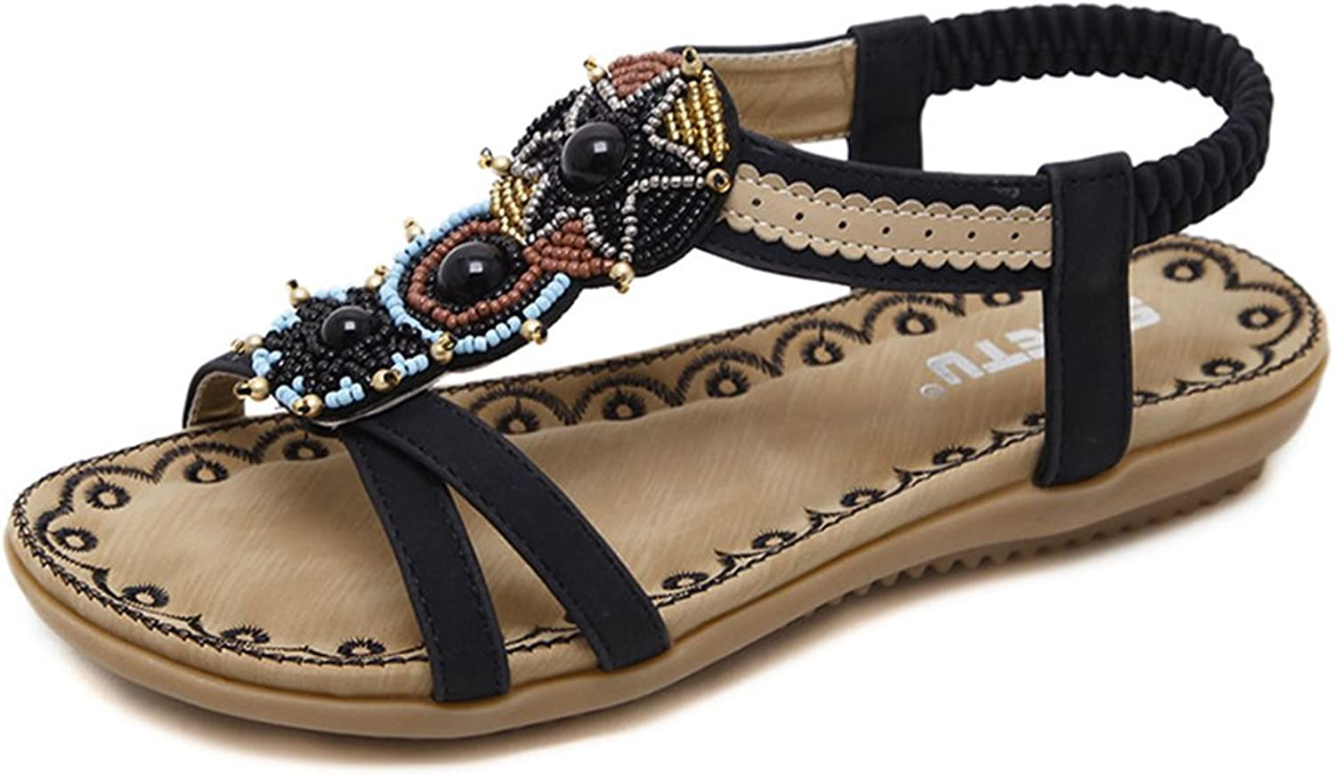 Mobnau Women's Leisure Leather Jeweled Flat Sandals