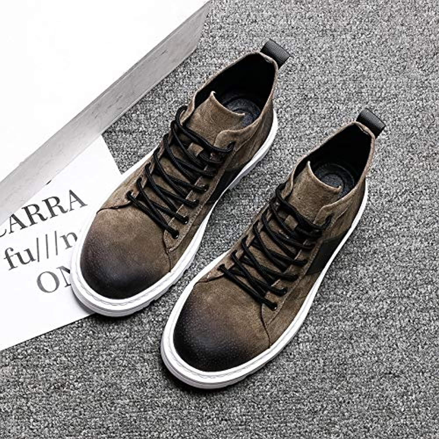 LOVDRAM Boots Men's Autumn And Winter New Wild Boots Martin Boots Casual shoes In The High Boots Men'S Fashion Platform shoes