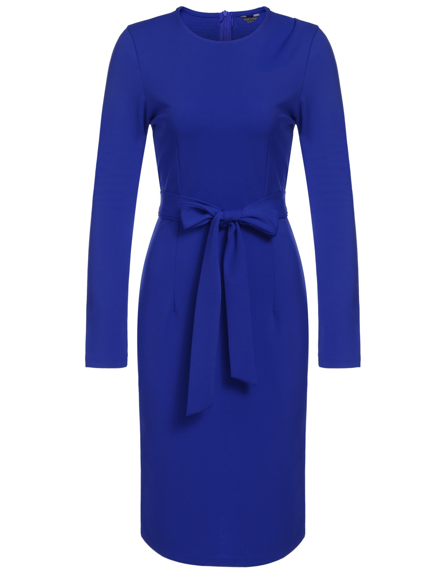 Available at Amazon: ANGVNS Women Long Sleeve Round Neck Cocktail Pencil Dress with Belt