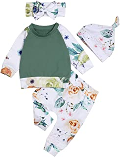 Newborn Baby Girls Clothes Ruffle T-Shirt + Floral Pants + Headband + Hat Outfit Sets