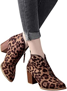 e0b94a8a5405 Women Ankle Booties Pointed Toe Leopard Print Chunky Heel Shoes Short Boots  by Lowprofile