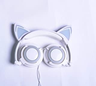 Popular New Cartoon cat Ear Headset for Children (Off-White)
