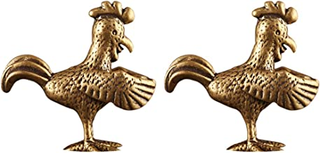 IMIKEYA 2pcs Retro Feng Shui Rooster Ornament Chinese Copper Zodiac Chicken Charm Wealth Animal Statue Mini Retro Lucky Am...
