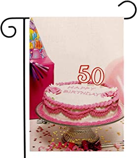 Custom Double Sided Seasonal Garden Flag 50th Birthday Decorations Delicious Cake Golden Color Stars Party Hat Presents Special Day Multicolor Welcome House Flag for Patio Lawn Outdoor Home Decor