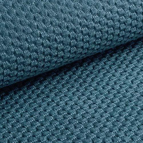 NOVELY® MAKAO moderner und kuscheliger Möbelstoff mit 3D-Wabenmuster ULTRAWEICH (10 | Rauch Blau)