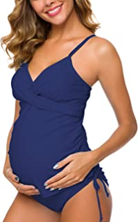 Ziola Women Two Piece Women's Maternity Swimsuit Retro Plum Wrap Front Tankini Swimwear Beachwear