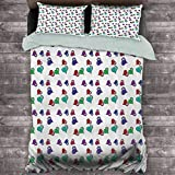 Toopeek Skulls Decorations Extra Large Quilt Cover Artistic Pattern with Colored Hearts and Skulls Can be Used as a Quilt Cover-Lightweight (Queen)