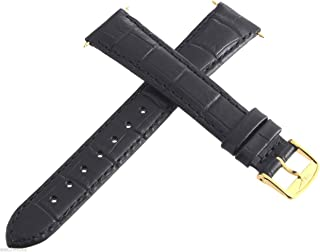 Longines Black 17mm Mens Replacement Watch Band Strap Gold Buckle