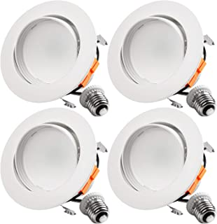 TORCHSTAR 10W 4 Inch Retrofit LED Gimbal Downlight, 650lm, 65W Eqv, UL & Energy Star Listed, Dimmable, Adjustable CRI90 Offwhite Recessed Ceiling Light, 3000K Warm White, 5 Years Warranty, Pack of 4